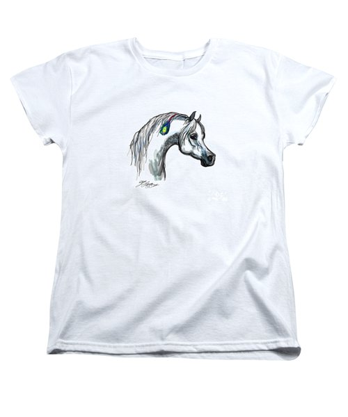 Arabian Peacock Feather Women's T-Shirt (Standard Cut) by Stacey Mayer