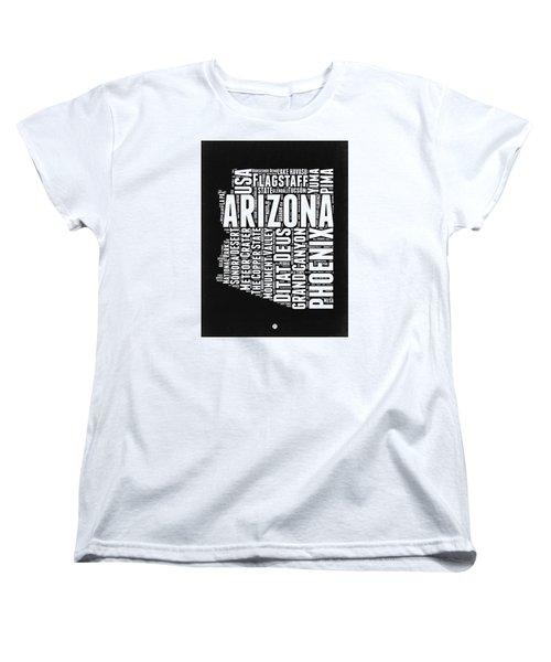 Arizona Black And White Word Cloud Map Women's T-Shirt (Standard Cut) by Naxart Studio