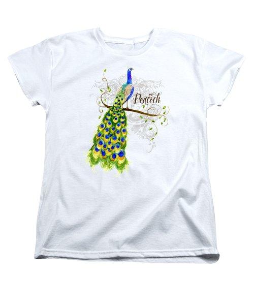 Art Nouveau Peacock W Swirl Tree Branch And Scrolls Women's T-Shirt (Standard Cut) by Audrey Jeanne Roberts