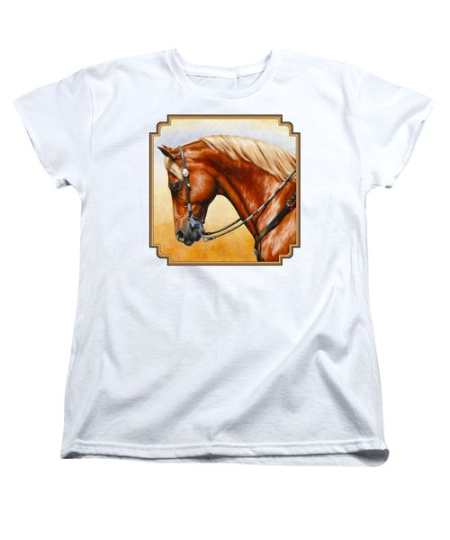 Precision - Horse Painting Women's T-Shirt (Standard Cut) by Crista Forest