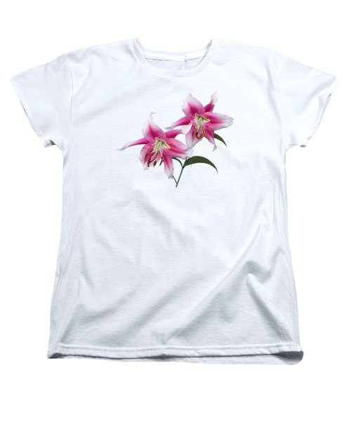 Pink And White Ot Lilies Women's T-Shirt (Standard Cut) by Jane McIlroy