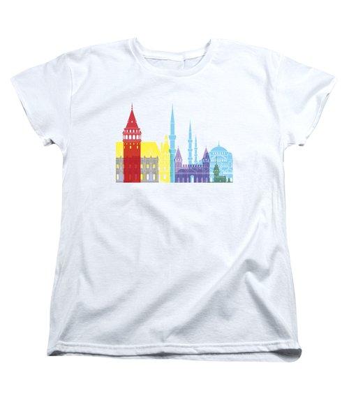 Istanbul Skyline Pop Women's T-Shirt (Standard Cut) by Pablo Romero