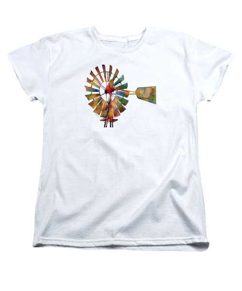 Women's T-Shirt (Standard Cut) featuring the painting Windmill by Hailey E Herrera