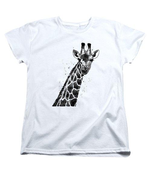 Giraffe In Black And White Women's T-Shirt (Standard Cut) by Hailey E Herrera