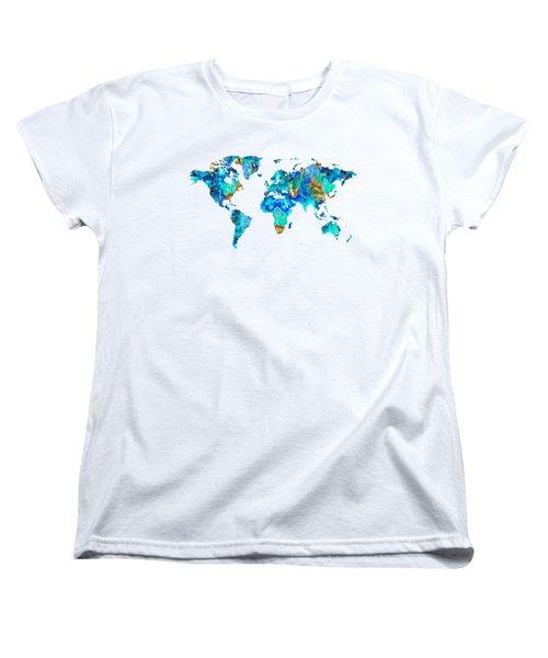 World Map 22 Art By Sharon Cummings Women's T-Shirt (Standard Cut) by Sharon Cummings