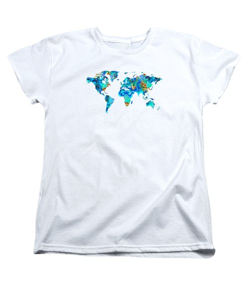 World Map 22 Art By Sharon Cummings Women's T-Shirt (Standard Cut)