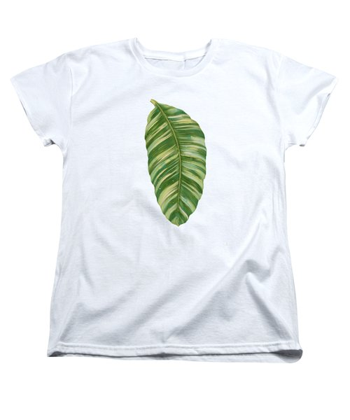 Women's T-Shirt (Standard Cut) featuring the painting Rainforest Resort - Tropical Leaves Elephant's Ear Philodendron Banana Leaf by Audrey Jeanne Roberts