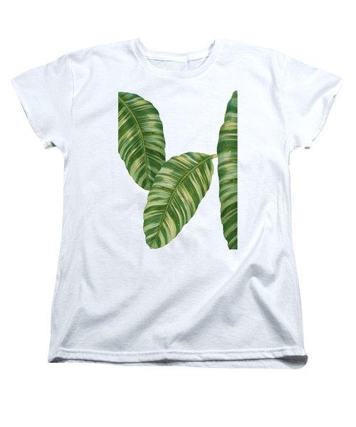 Rainforest Resort - Tropical Banana Leaf  Women's T-Shirt (Standard Cut) by Audrey Jeanne Roberts
