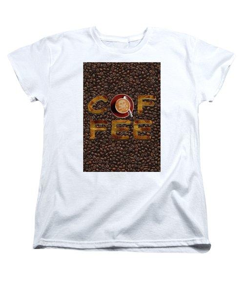 Coffee Funny Typography Women's T-Shirt (Standard Cut) by Georgeta Blanaru