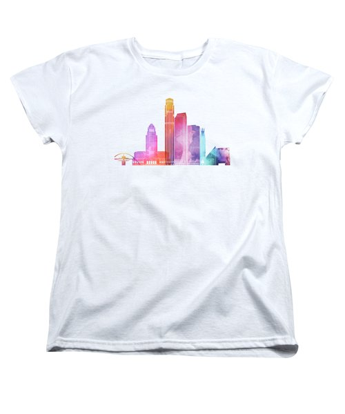 Los Angeles Landmarks Watercolor Poster Women's T-Shirt (Standard Cut) by Pablo Romero