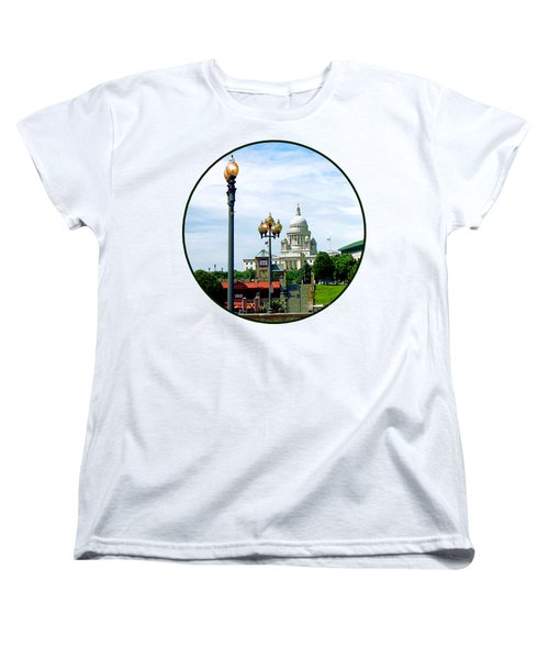 Capitol Building Seen From Waterplace Park Women's T-Shirt (Standard Cut) by Susan Savad