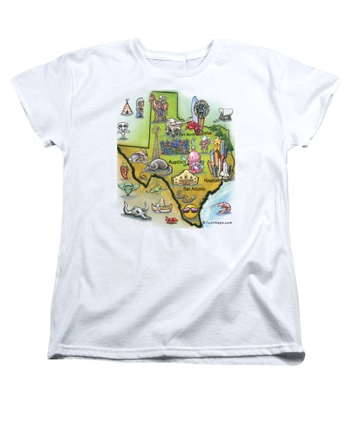 Texas Cartoon Map Women's T-Shirt (Standard Cut) by Kevin Middleton