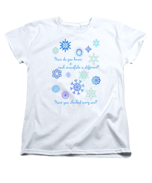 Snowflakes Women's T-Shirt (Standard Cut) by Methune Hively