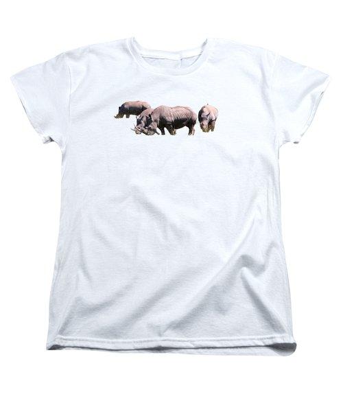 Group Of White Rhino Women's T-Shirt (Standard Cut) by Aidan Moran