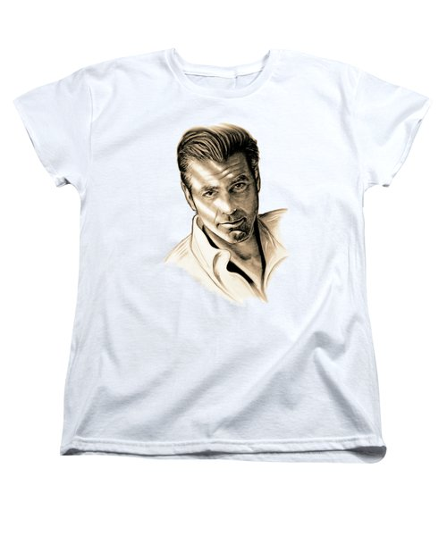 George Clooney Women's T-Shirt (Standard Cut) by Gitta Glaeser