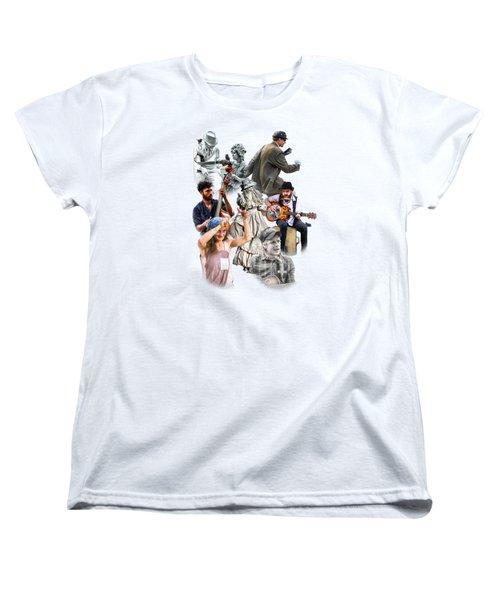 Asheville Buskers Collage Women's T-Shirt (Standard Cut) by John Haldane