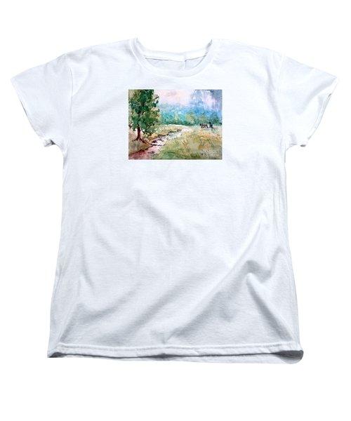 Aska Farm Creek Women's T-Shirt (Standard Cut) by Gretchen Allen