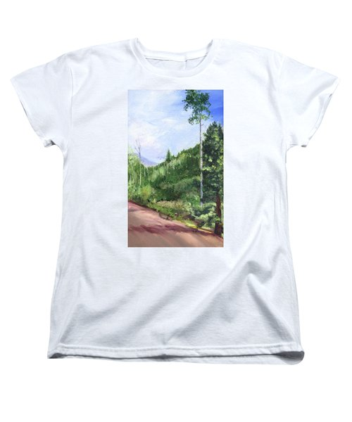 Women's T-Shirt (Standard Cut) featuring the painting Aspen Heaven by Jane Autry