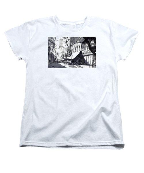 Athens Morning Walk Mono Women's T-Shirt (Standard Cut) by Sof Georgiou