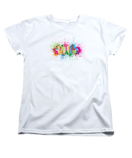 Atlanta Skyline Paint Splatter Text Illustration Women's T-Shirt (Standard Cut) by Jit Lim