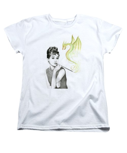 Audrey And Her Magic Dragon Women's T-Shirt (Standard Cut) by Olga Shvartsur