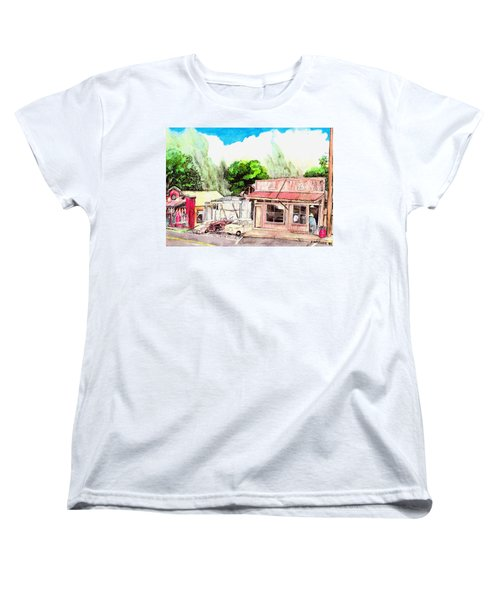Women's T-Shirt (Standard Cut) featuring the painting Auggies Pool Hall by Eric Samuelson