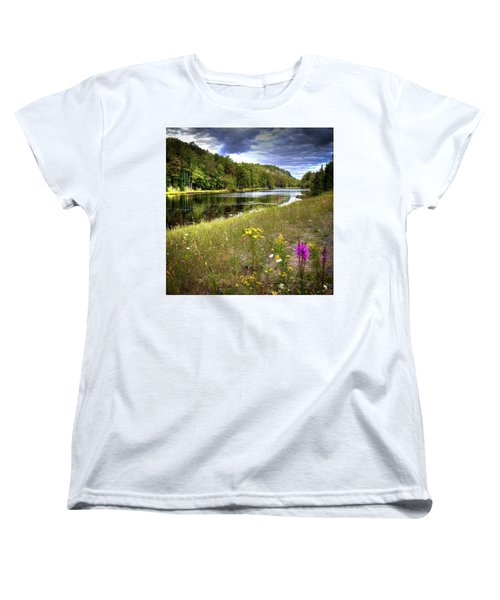 Women's T-Shirt (Standard Cut) featuring the photograph August Flowers On The Pond by David Patterson