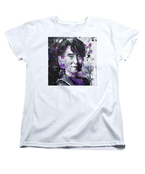 Women's T-Shirt (Standard Cut) featuring the painting Aung San Suu Kyi by Richard Day