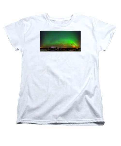 Aurora Over Pond Panorama Women's T-Shirt (Standard Cut) by Dan Jurak