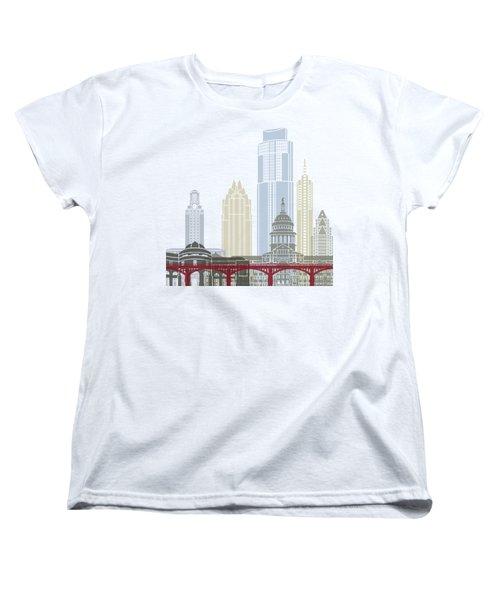 Austin Skyline Poster Women's T-Shirt (Standard Cut) by Pablo Romero