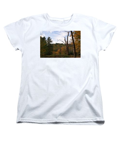 Women's T-Shirt (Standard Cut) featuring the photograph Autumn In The Hills by Lois Lepisto