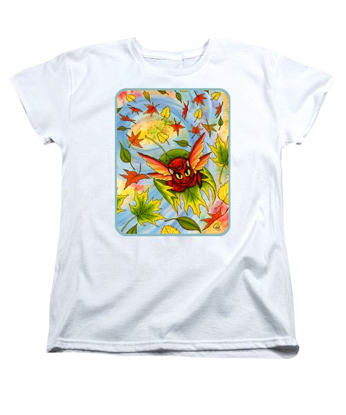 Women's T-Shirt (Standard Cut) featuring the painting Autumn Winds Fairy Cat by Carrie Hawks