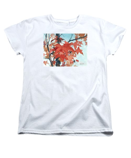 Women's T-Shirt (Standard Cut) featuring the painting Autumn's Artistry by Barbara Jewell
