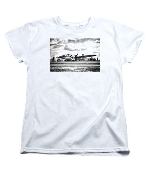 B-17 Bomber Fueling Up In Hdr Women's T-Shirt (Standard Cut)