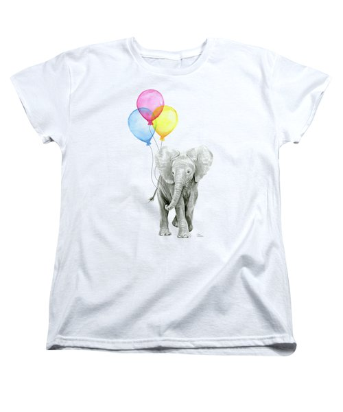 Baby Elephant With Baloons Women's T-Shirt (Standard Cut) by Olga Shvartsur