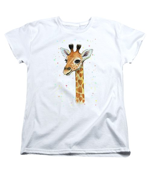 Baby Giraffe Watercolor With Heart Shaped Spots Women's T-Shirt (Standard Cut) by Olga Shvartsur