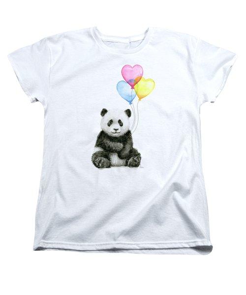 Baby Panda With Heart-shaped Balloons Women's T-Shirt (Standard Cut)