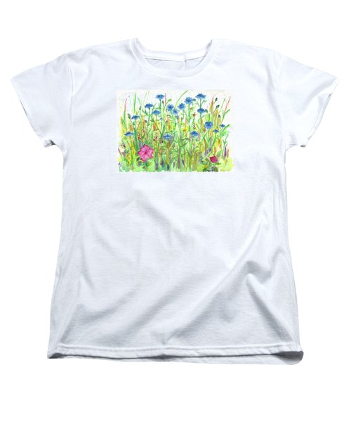Women's T-Shirt (Standard Cut) featuring the painting Bachelor Button Meadow by Cathie Richardson