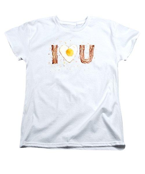 Bacon And Egg I Heart You Watercolor Women's T-Shirt (Standard Cut) by Olga Shvartsur