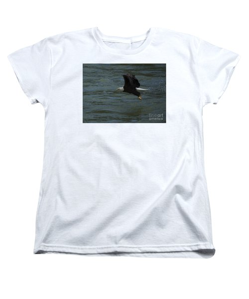 Bald Eagle With Fish In Claws Flying Over The French Broad River, Tennessee Women's T-Shirt (Standard Cut) by Nature Scapes Fine Art