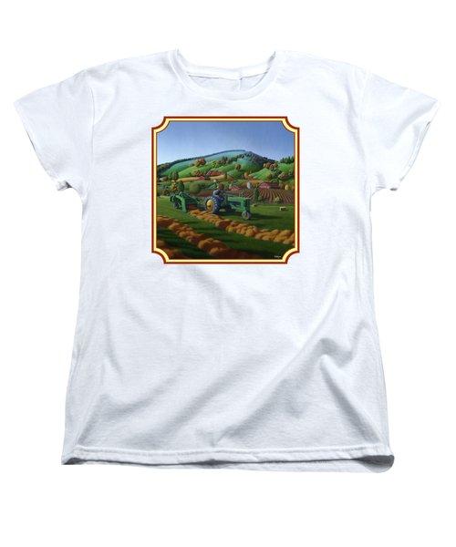 Baling Hay Field - John Deere Tractor - Farm Country Landscape Square Format Women's T-Shirt (Standard Cut) by Walt Curlee