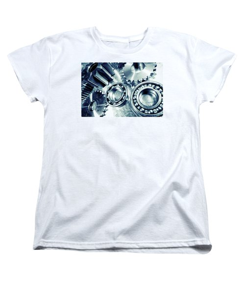 Ball-bearings And Cogs In Titanium Women's T-Shirt (Standard Cut) by Christian Lagereek