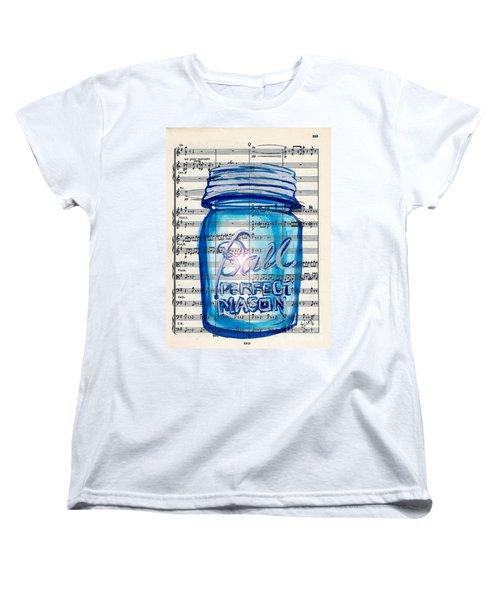 Women's T-Shirt (Standard Cut) featuring the painting Ball Mason Jar Classical #168 by Ecinja