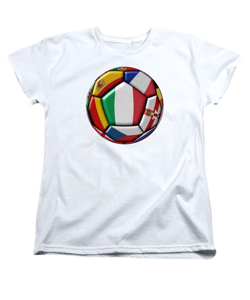 Ball With Flag Of Italy In The Center Women's T-Shirt (Standard Cut) by Michal Boubin