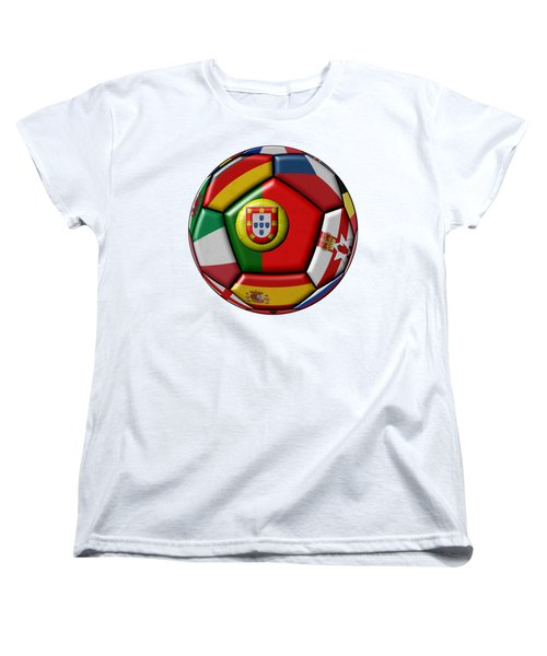 Ball With Flag Of Portugal In The Center Women's T-Shirt (Standard Cut) by Michal Boubin
