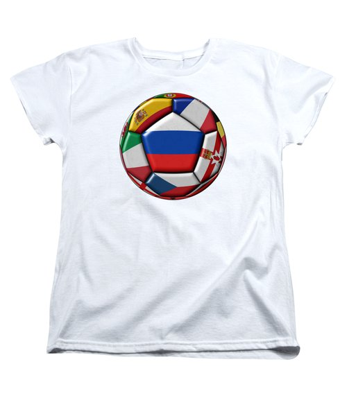 Ball With Flag Of Russia In The Center Women's T-Shirt (Standard Cut) by Michal Boubin