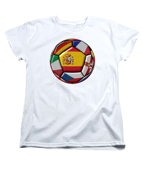 Ball With Flag Of Spain In The Center Women's T-Shirt (Standard Cut) by Michal Boubin