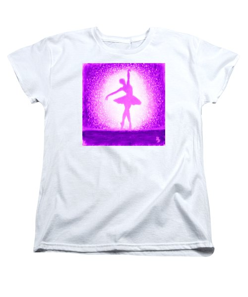 Women's T-Shirt (Standard Cut) featuring the painting Ballerina Purple And Pink by Bob Baker