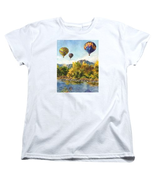 Women's T-Shirt (Standard Cut) featuring the painting Balloons At Twin Lakes by Anne Gifford