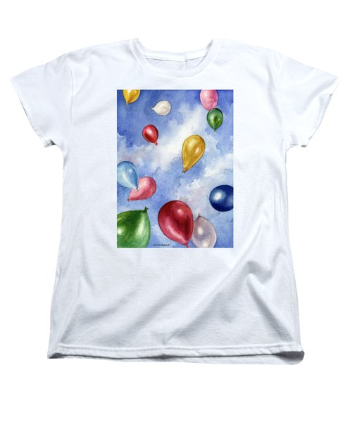 Women's T-Shirt (Standard Cut) featuring the painting Balloons In Flight by Anne Gifford